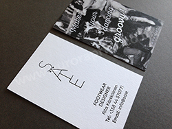 Black foil business cards with digital print
