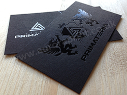 Black foil business cards printed on sirio ultra black