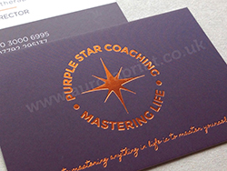 Colour printed business cards with copper foil print