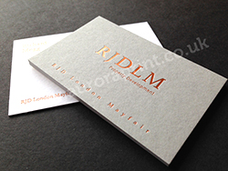 Satin copper foil business cards on duplexed colorplan