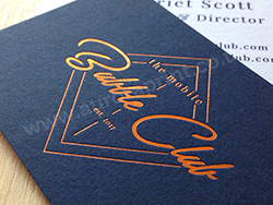 Copper foil business cards on duplexed colorplan with blue print