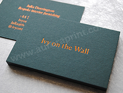 Copper foil business cards on racing green colorplan