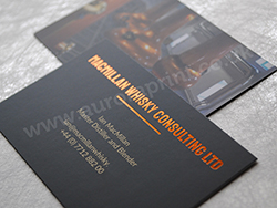 Copper foil business cards on colour printed laminated stock