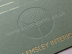 Blind debossed business cards with gold foil on colorplan