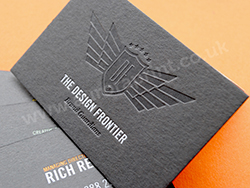Clear foil and debossed business cards