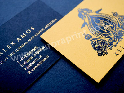Citrine and black colorplan business cards with gold and black foil
