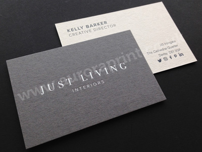Duplexed dark grey and cool grey colorplan business cards