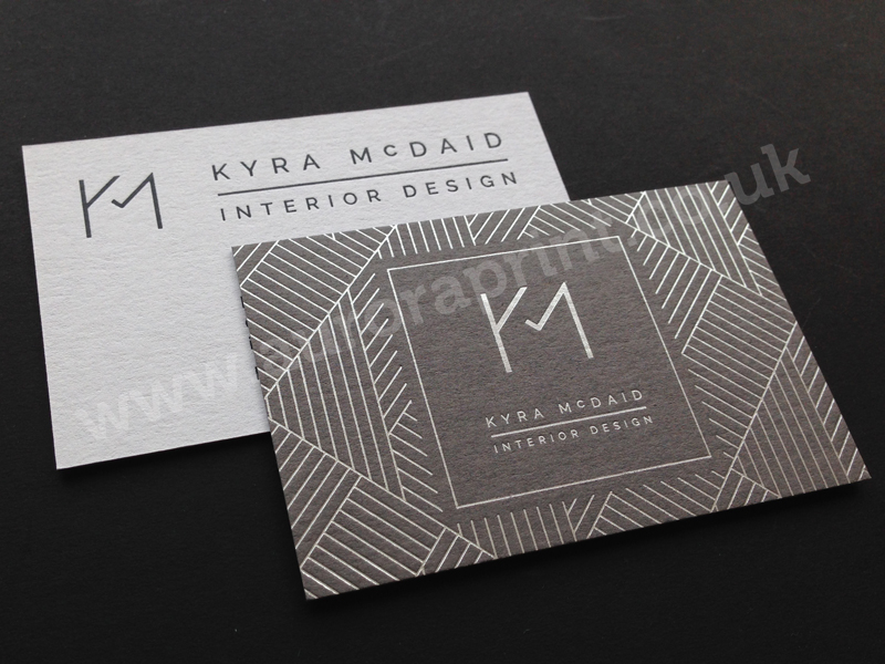 Duplexed business cards including colorplan sirio conqueror plus duplexed grey and cool grey colorplan business cards with foil print reheart Images