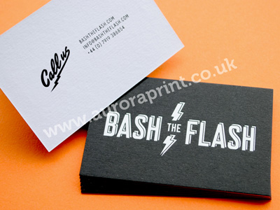 Duplexed business cards with white and black hot foil printing