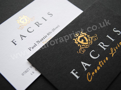 Duplexed business cards with gold, white and black foil printing