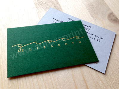 Forest green and cool blue foil printed and duplexed business cards