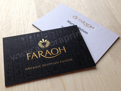 Gold foil and gloss black duplexed business cards