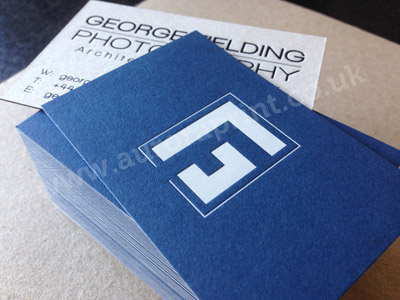 Duplexed cobalt blue and pale grey colorplan with white and blue gloss foil print