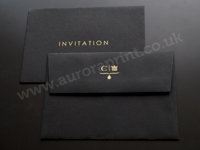 ebony black C6 colorplan envelope with gold hot foil printing