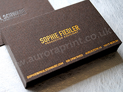 Gravure embossed bitter colorplan gold foil printed business cards