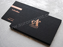 Rose gold foil printed black business cards