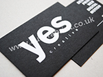 white foil printing on black business cards