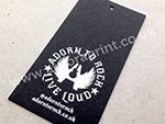 black card swing tag with white foil print.