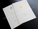 gold foil printed wedding invitations on cream card