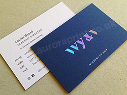 Iridescent silver foil business cards printed on duplexed 540gsm colorplan.