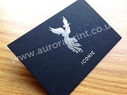 Silver foil on black business cards
