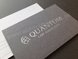 Silver foil business cards printed on duplexed colorplan