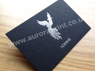 silver foiling on black card