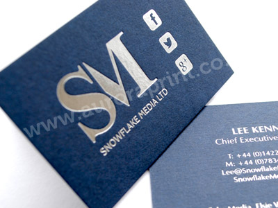 silver foil printng on imperial blue colorplan