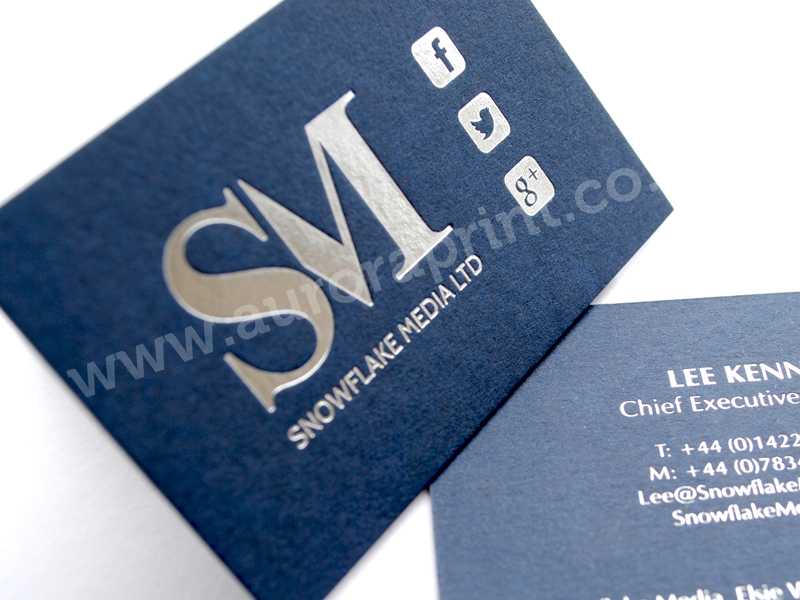 Silver hot foil printed business cards, business stationery and ...