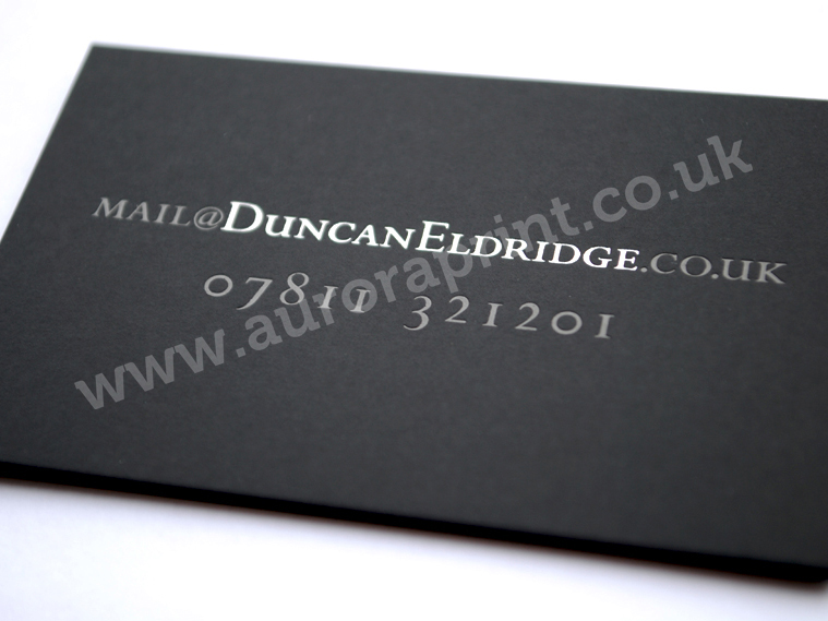 Silver hot foil printed business cards business stationery and silver and black foil printing on black plike business cards reheart Choice Image