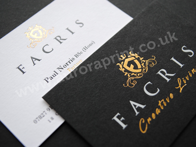 duplexed black and white business cards - Facris
