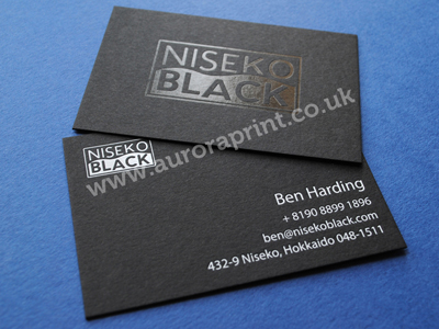 gloss black and white on matt business cards - Niseko