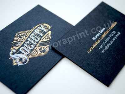gold and white on black business cards - Morley