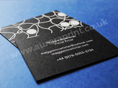 white foil on thick matt black card - mag