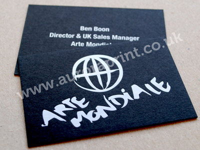 white on black business cards - Arte